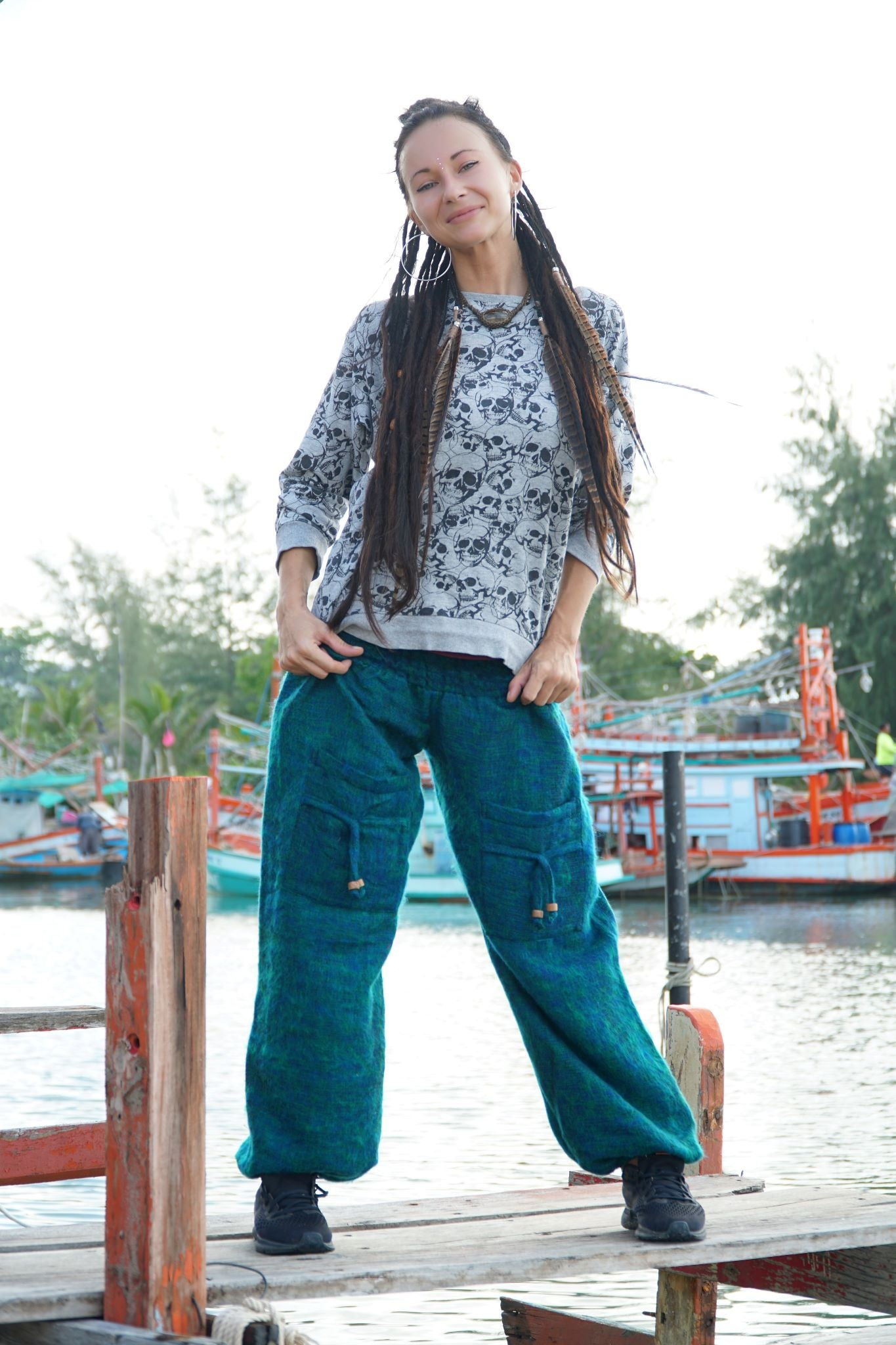 Warm High Crotch Harem Pants - Cashmilon - Blue & Green Mix