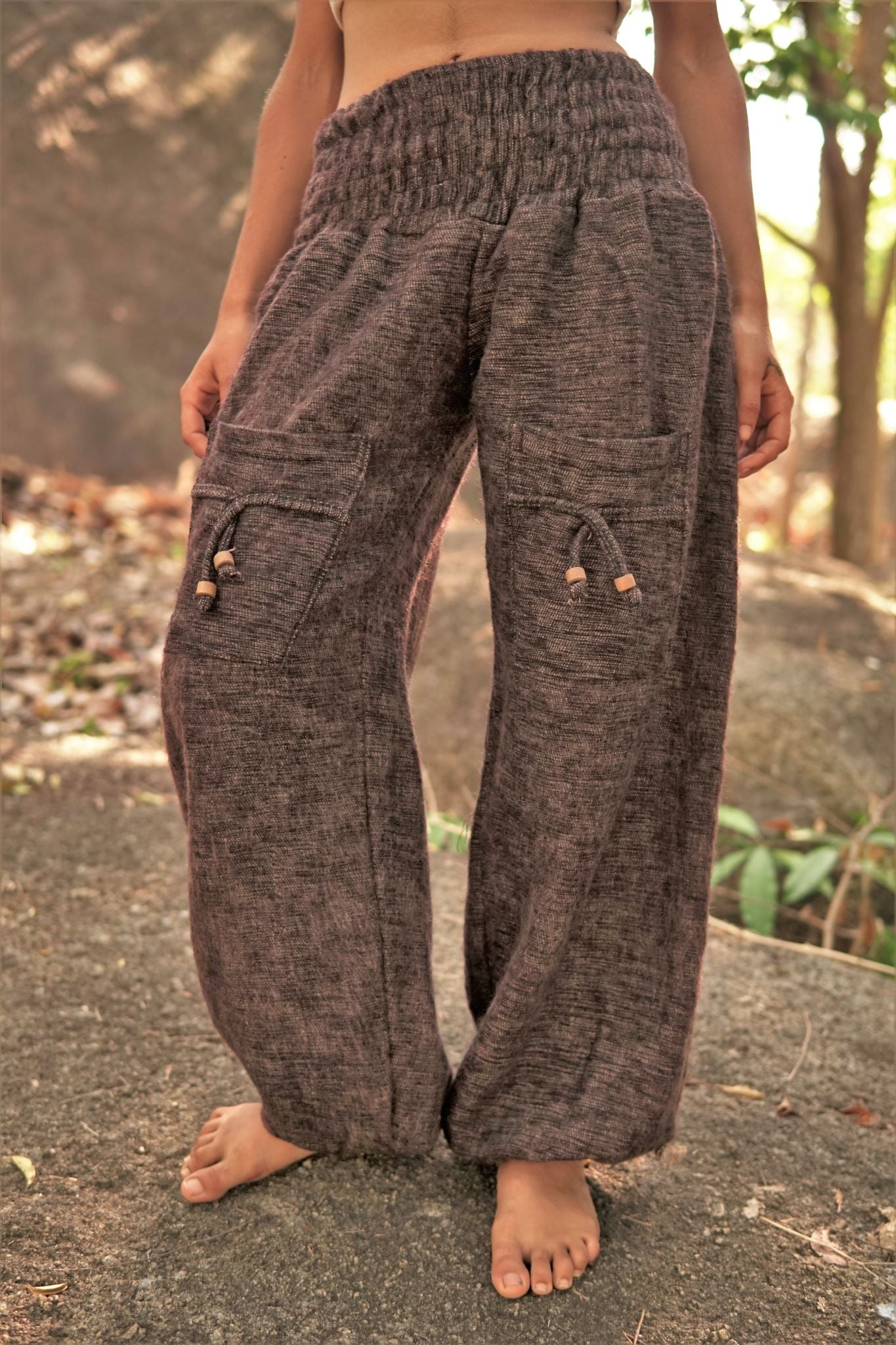 Warm High Crotch Harem Pants - Cashmilon - Brown