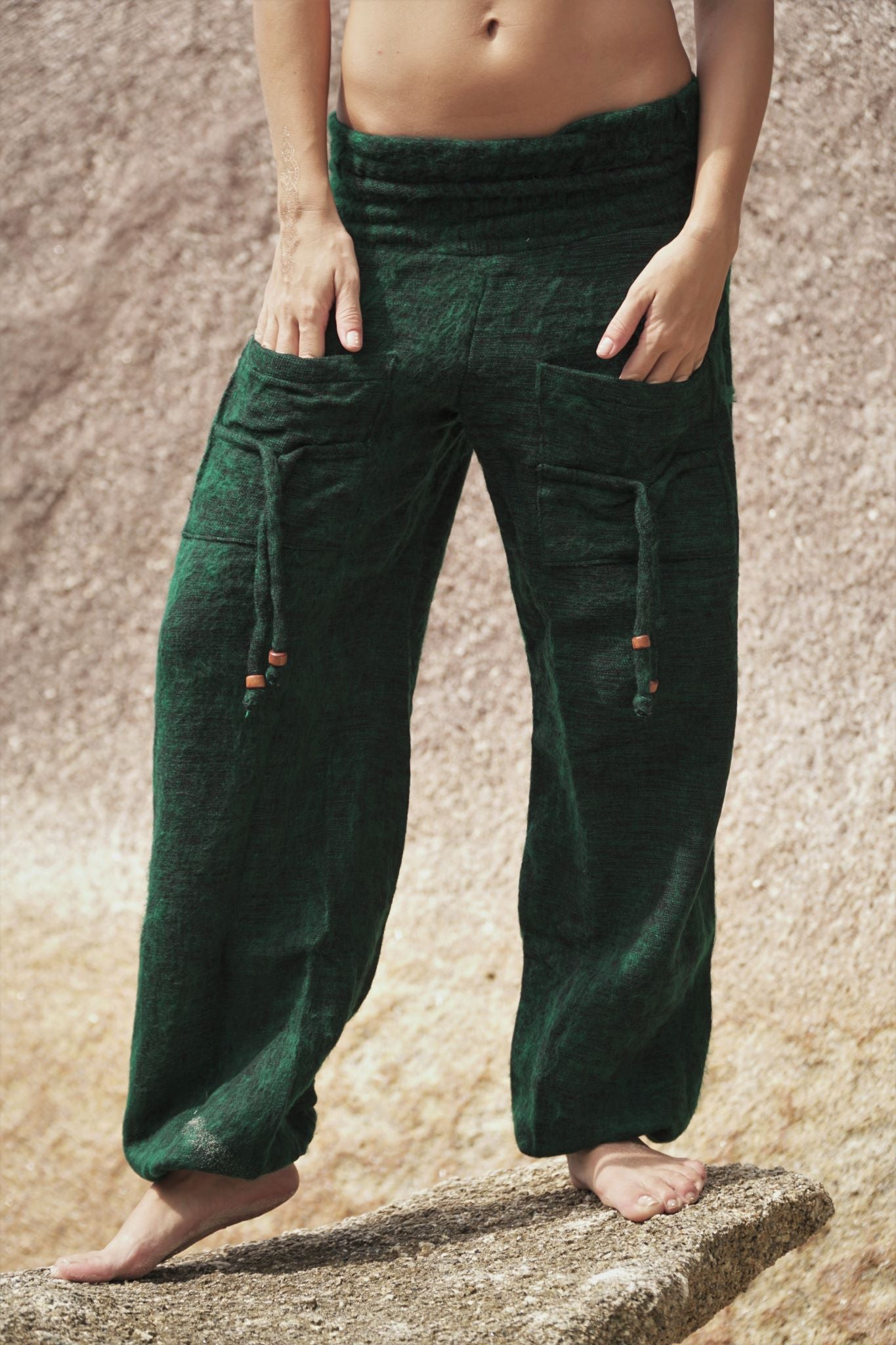 Warm High Crotch Harem Pants - Cashmilon - Green
