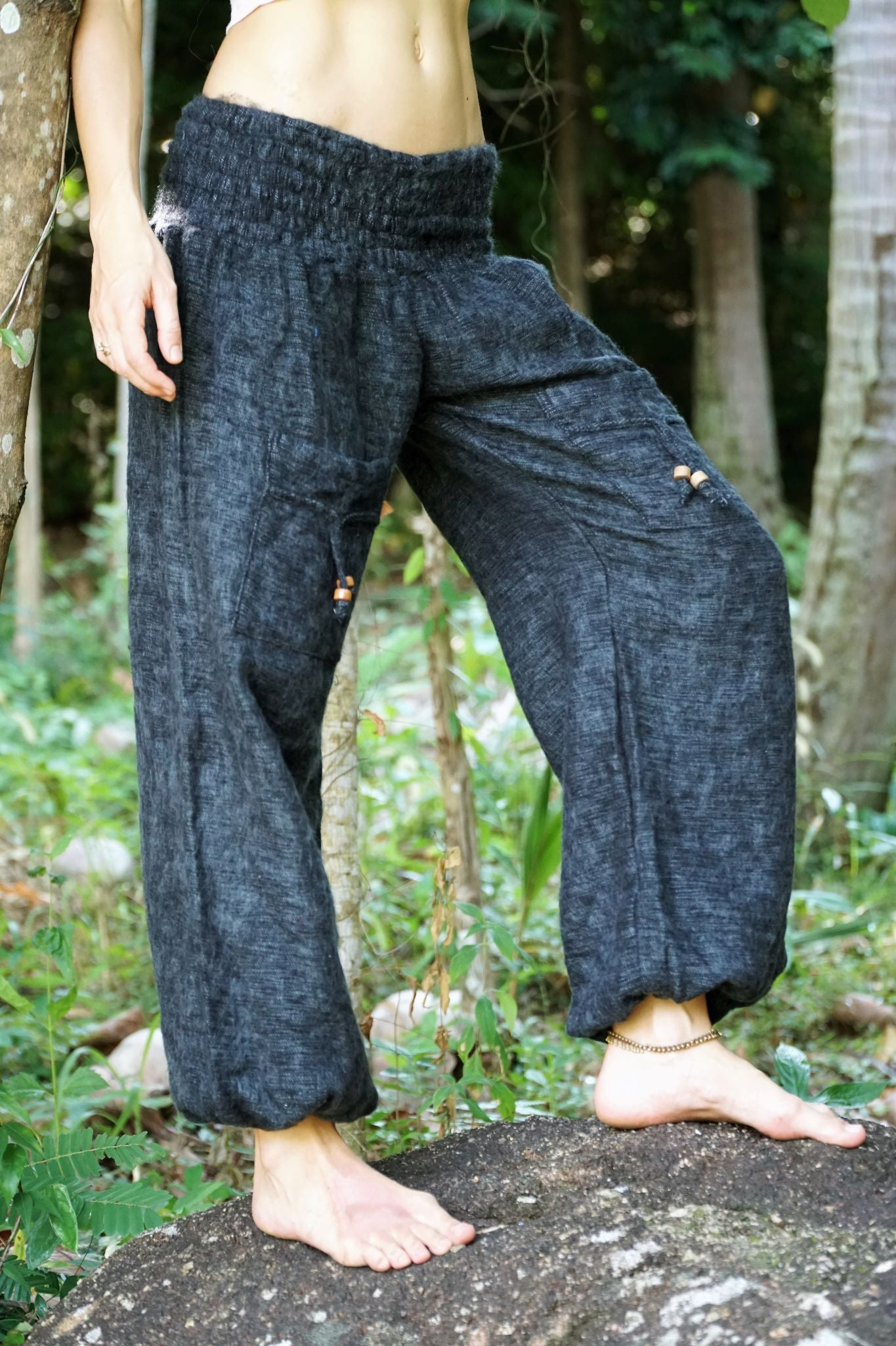 Warm High Crotch Harem Pants - Cashmilon - Grey