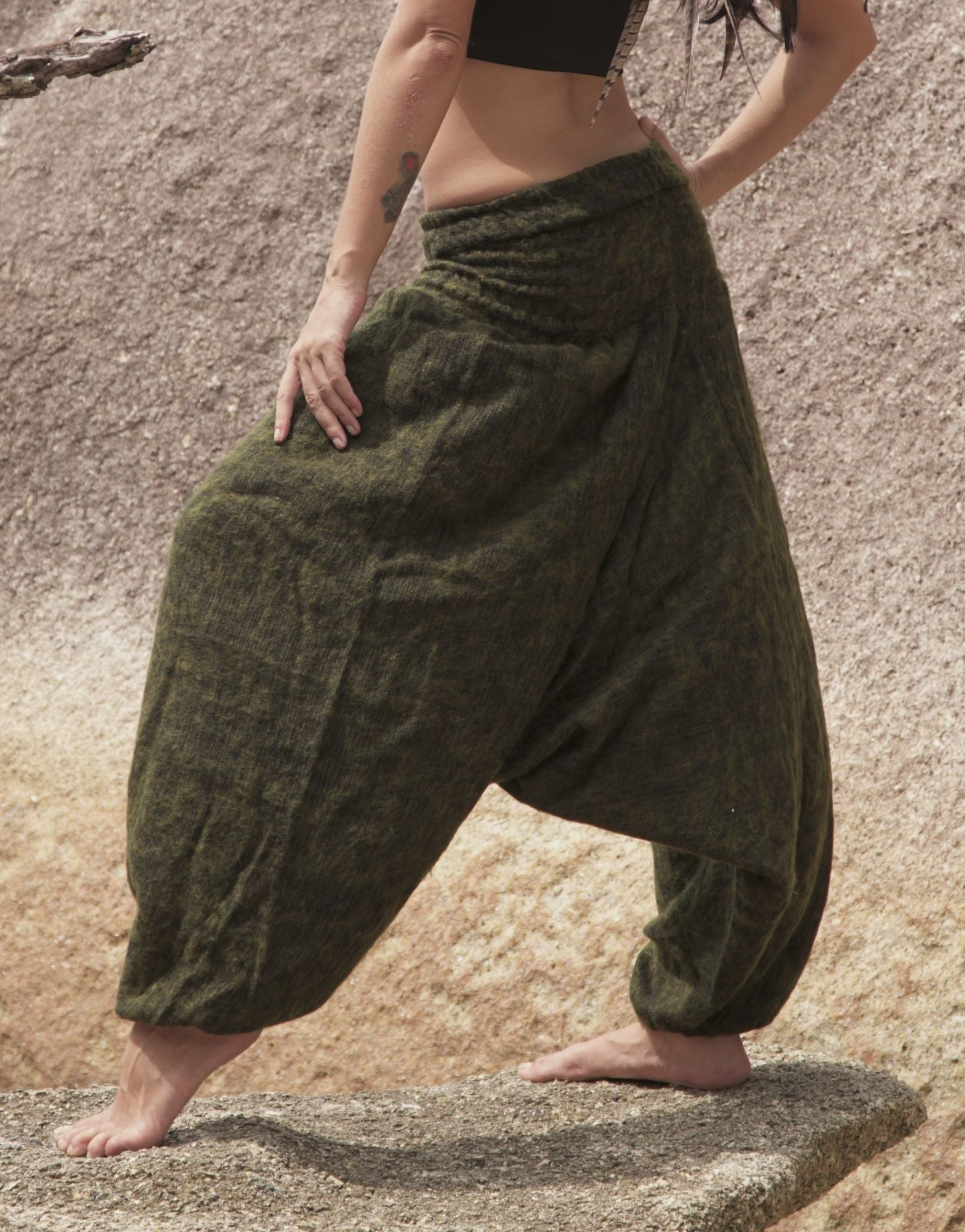 Warm Harem Pants - Cashmilon - Khaki