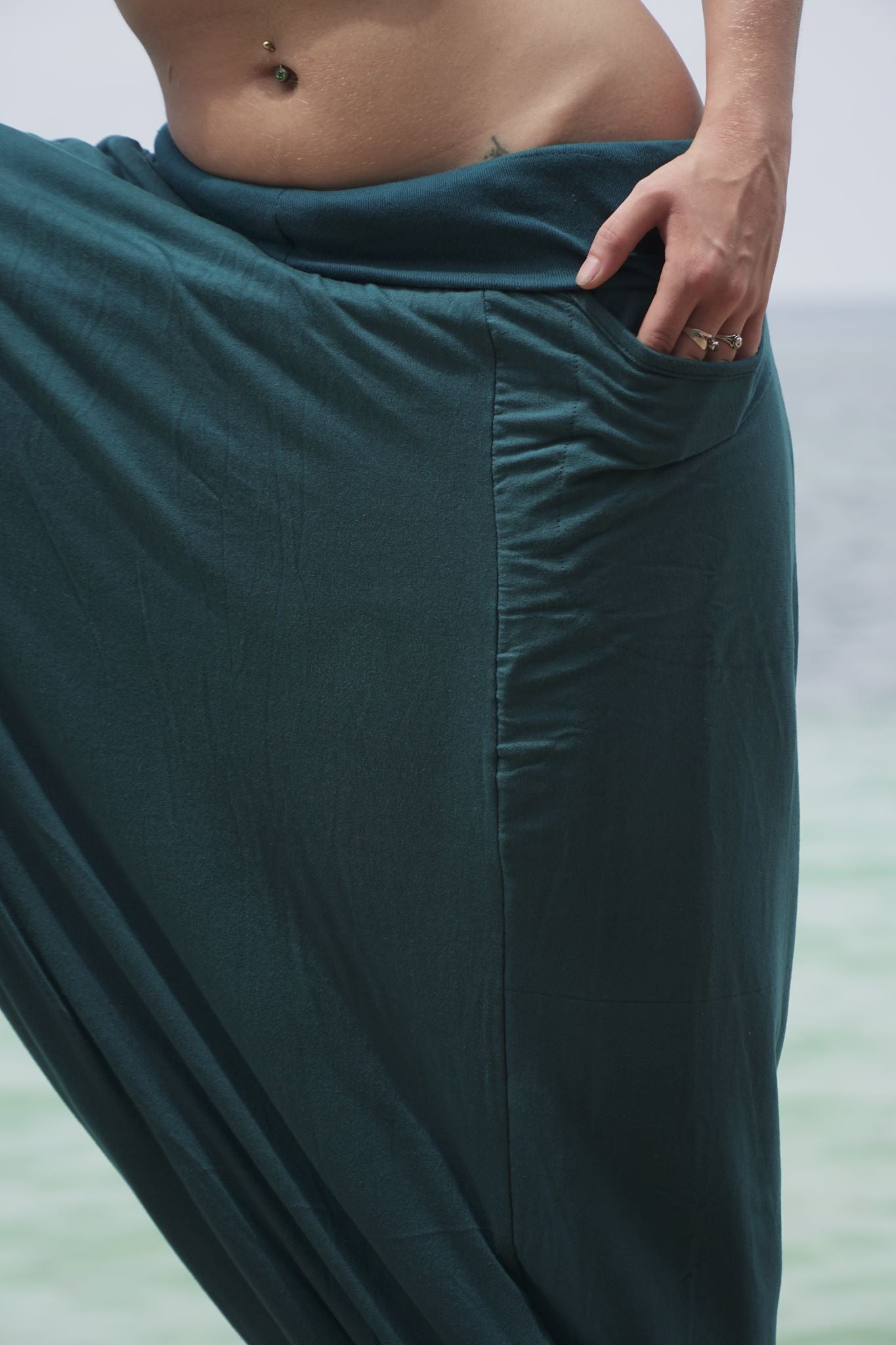 Fleece Lined Harem Pants - Plain - Teal