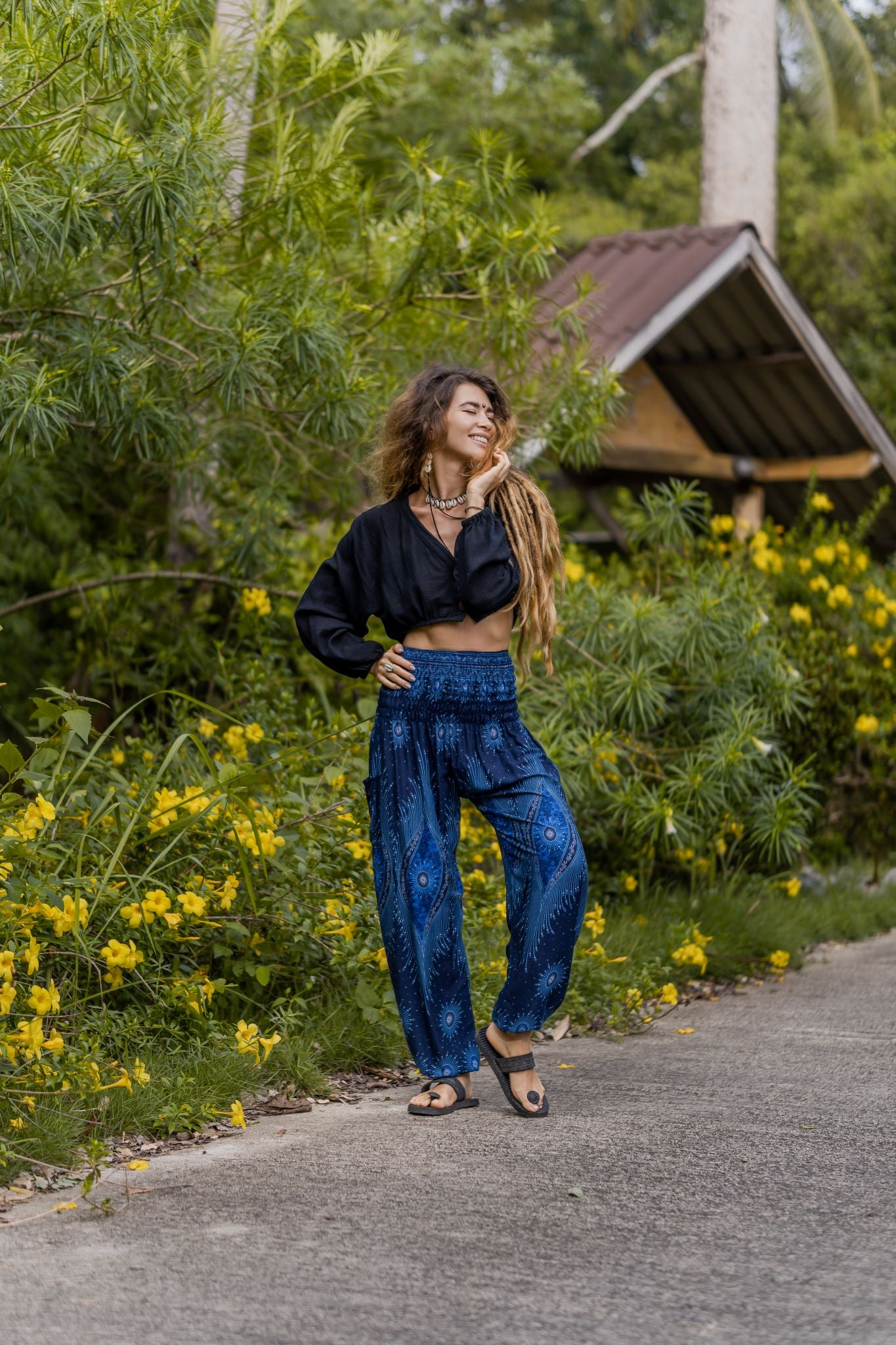 High Cut Harem Pants - Dazzling Peacock Feather - Midnight Blue
