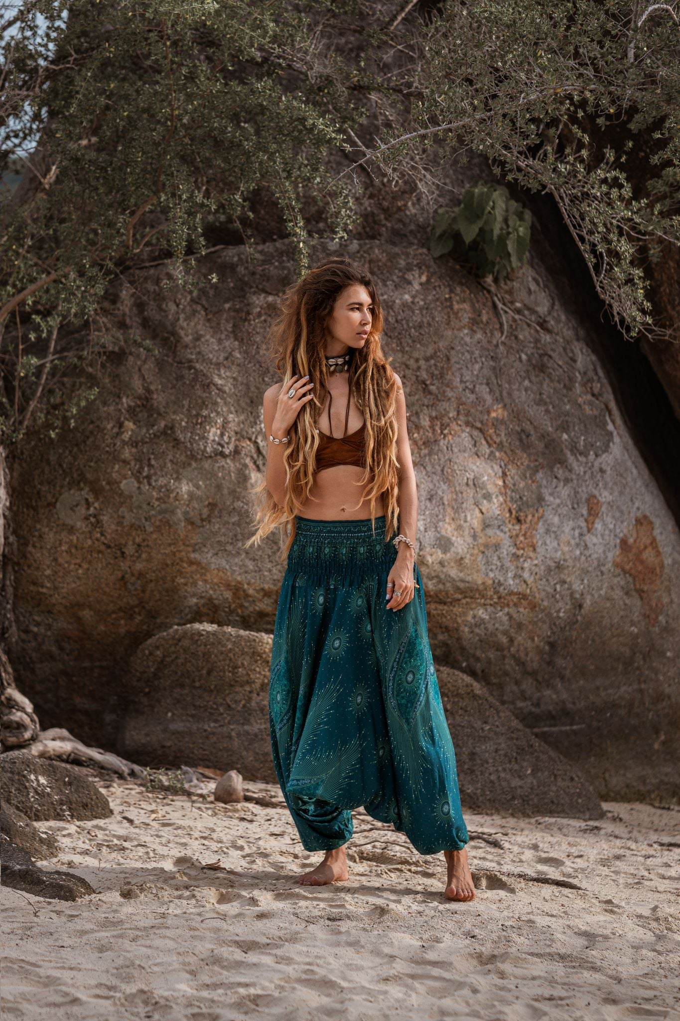 Harem Pants - Dazzling Peacock Feather - Teal