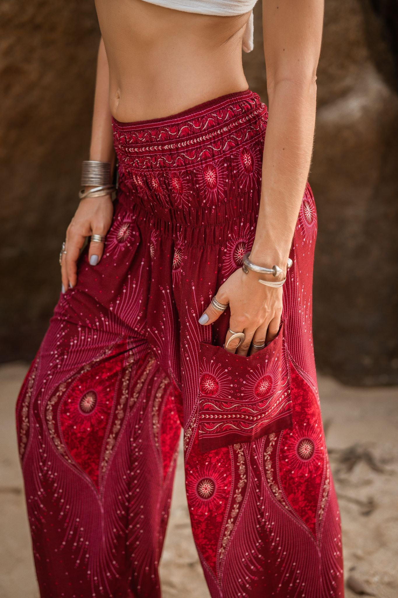 High Cut Harem Pants - Dazzling Peacock Feather - Red