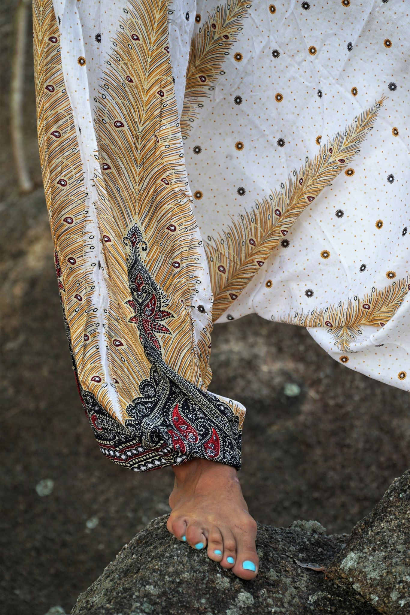 Harem Pants - Peacock Feather - White