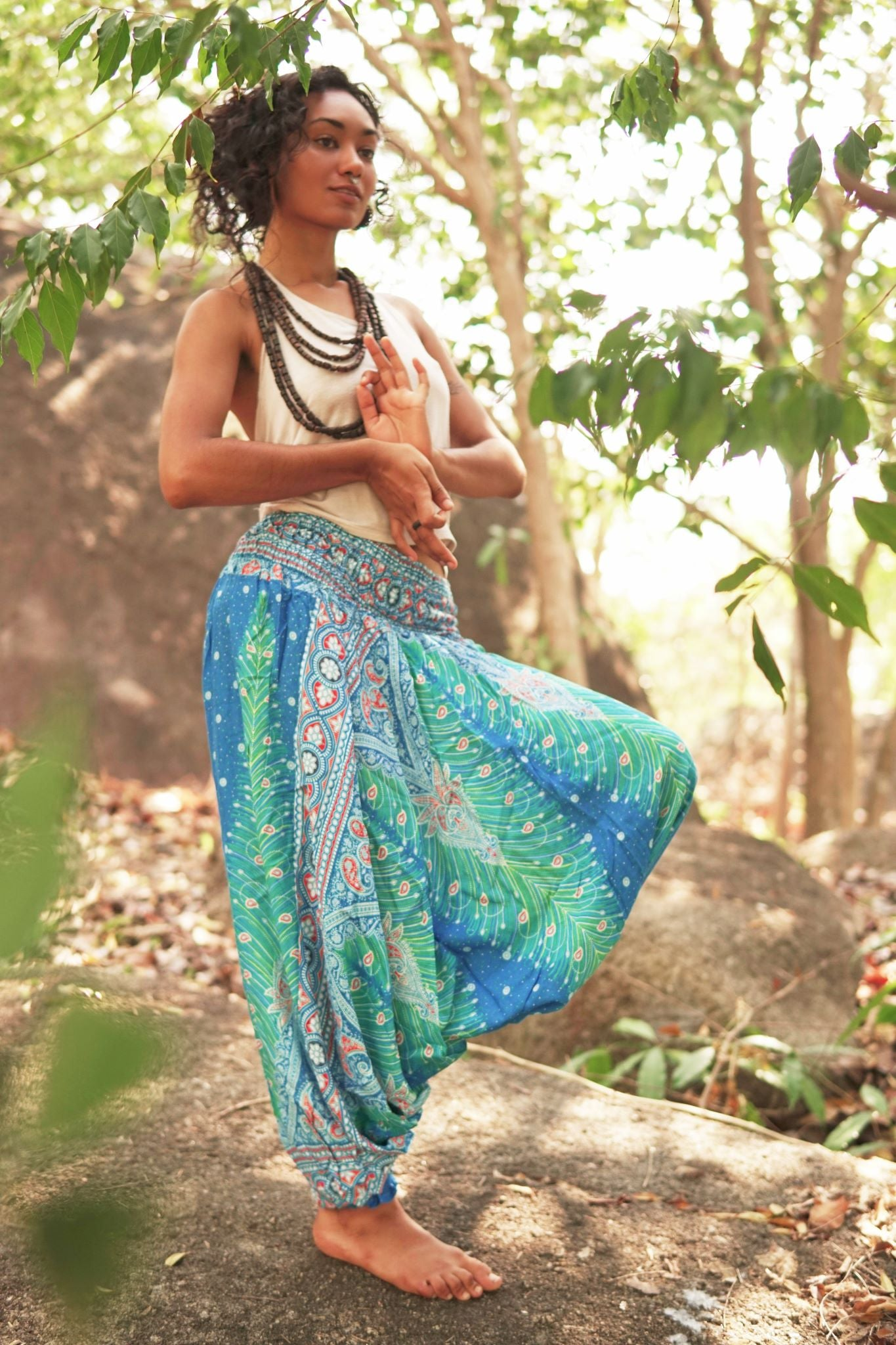 Harem Pants - Peacock Feather - Light Blue