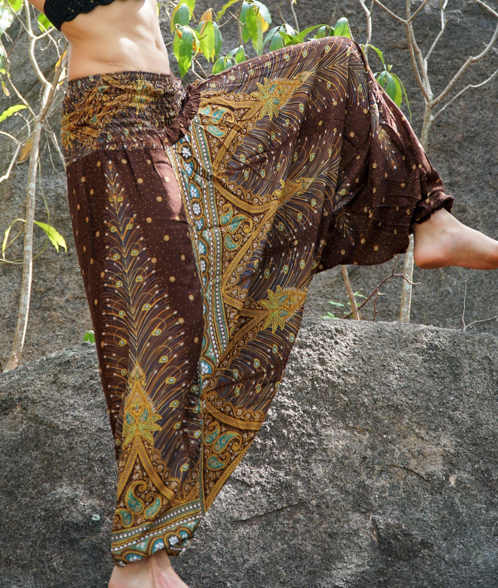 Harem Pants - Peacock Feather - Brown