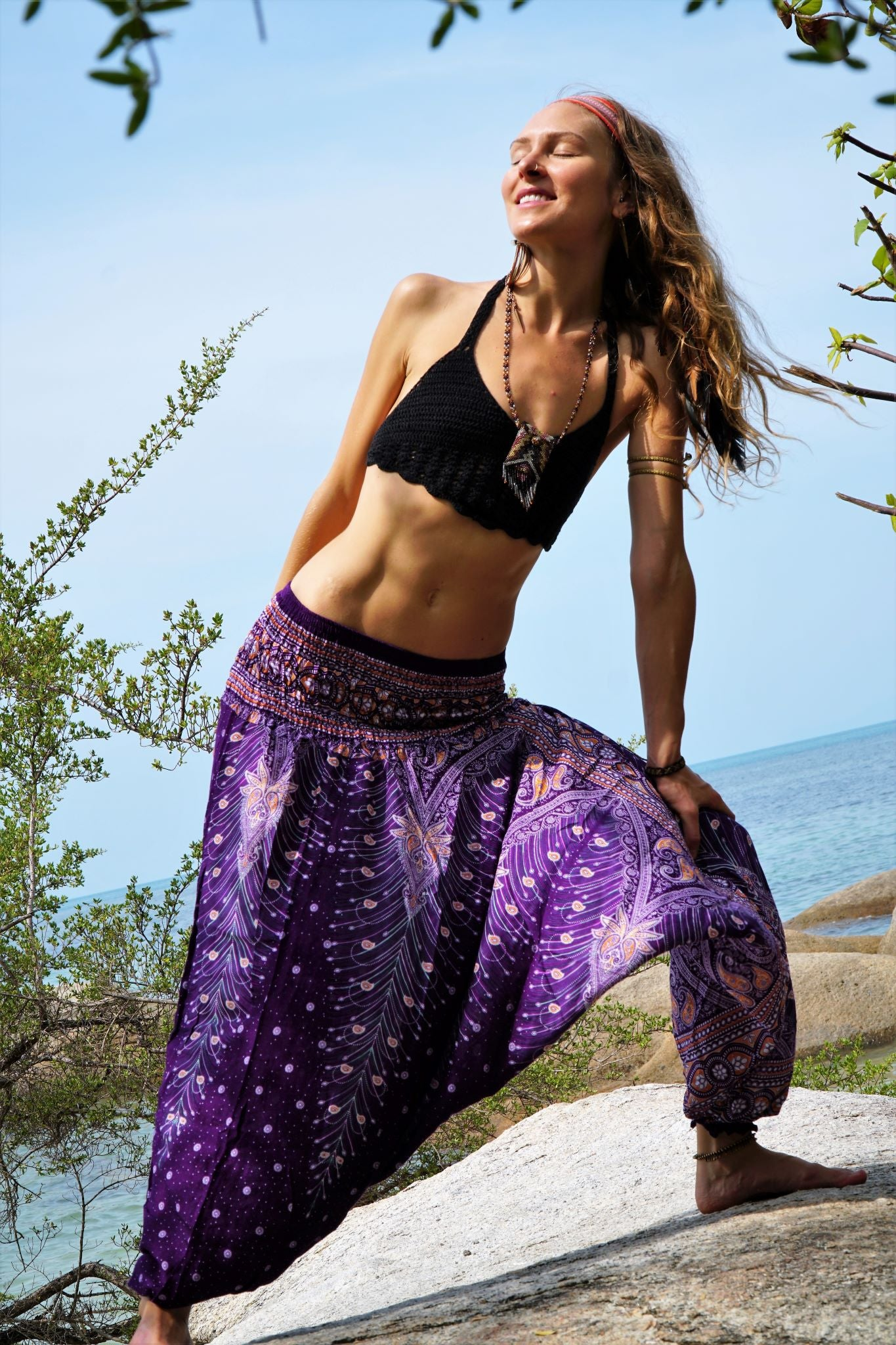 Harem Pants - Peacock Feather - Purple