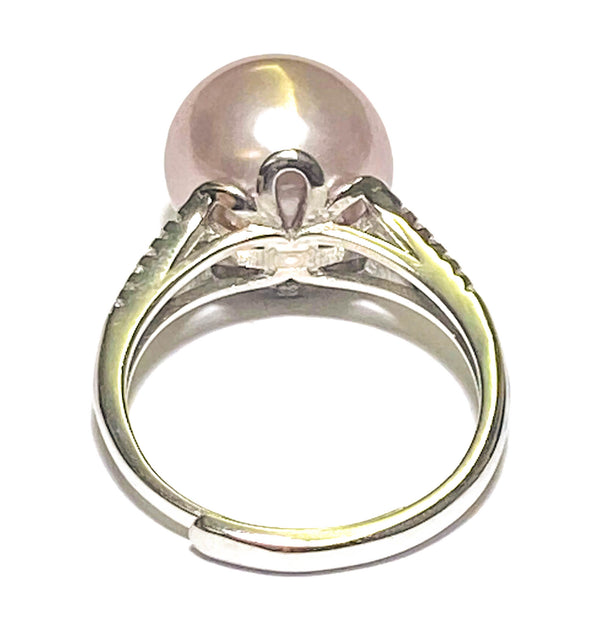 "Unique Double South Sea White & Gold 14mm Cultured Pearl 8"" Bangle"