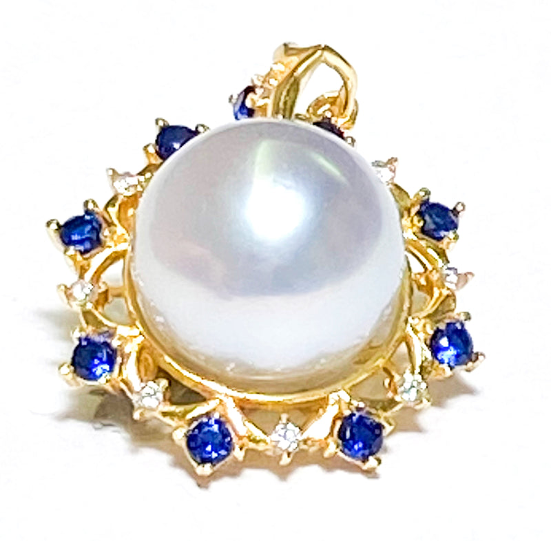 Excellent Luster 13.5mm South Sea Gold Round Pearl Vintage Pendant