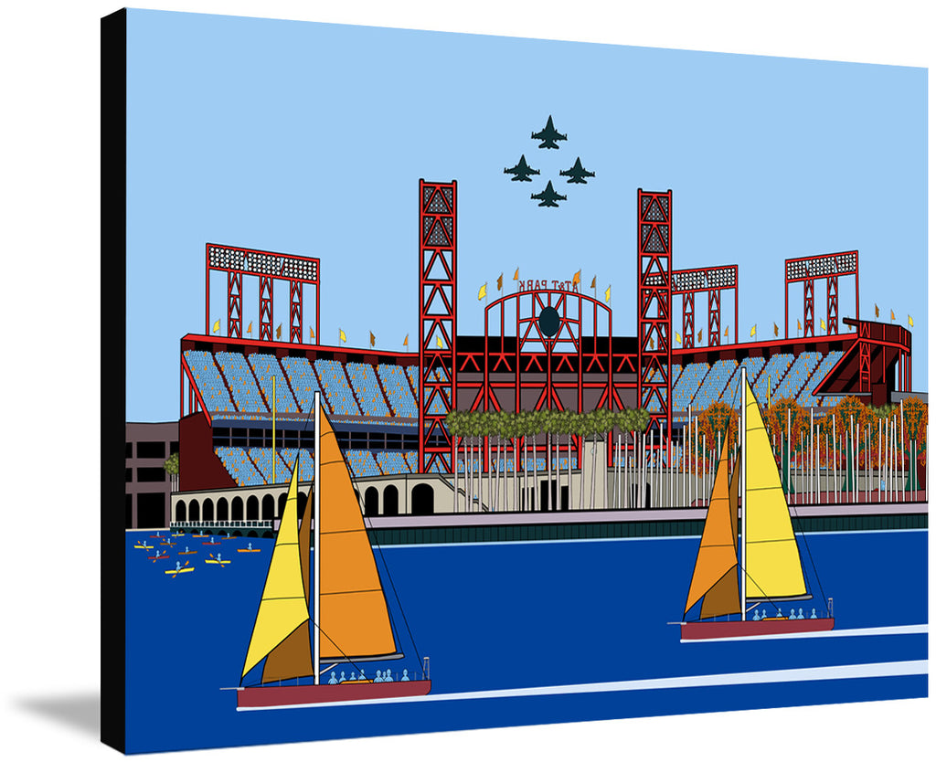 Baseball by the Bay by John Kraft (ready to hang canvas)