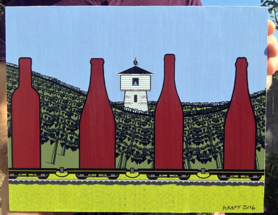 Wine Train Wood Mounted Print by John Kraft