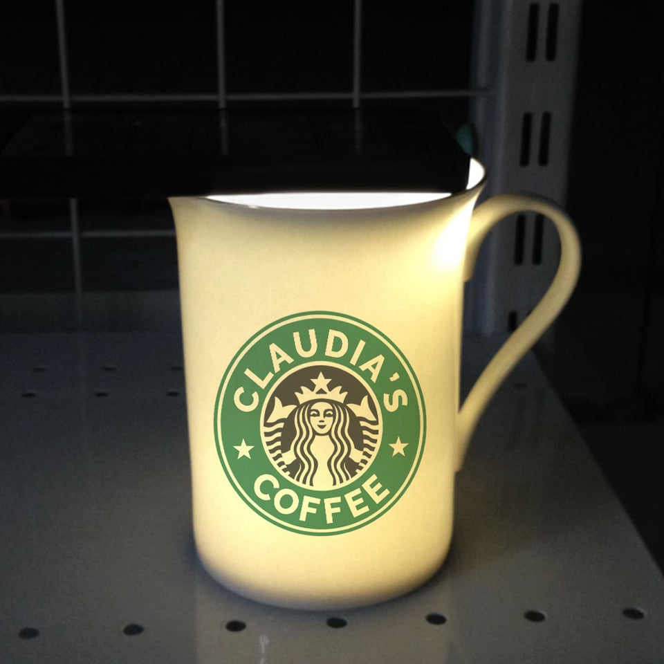 Unique Glowing Effect Starbucks Custom Ceramic Gift Tea Mug