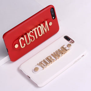Real Leather iPhone Phone Case Gold Letters Metal Luxury Bold Personalized Text X XR XS Max