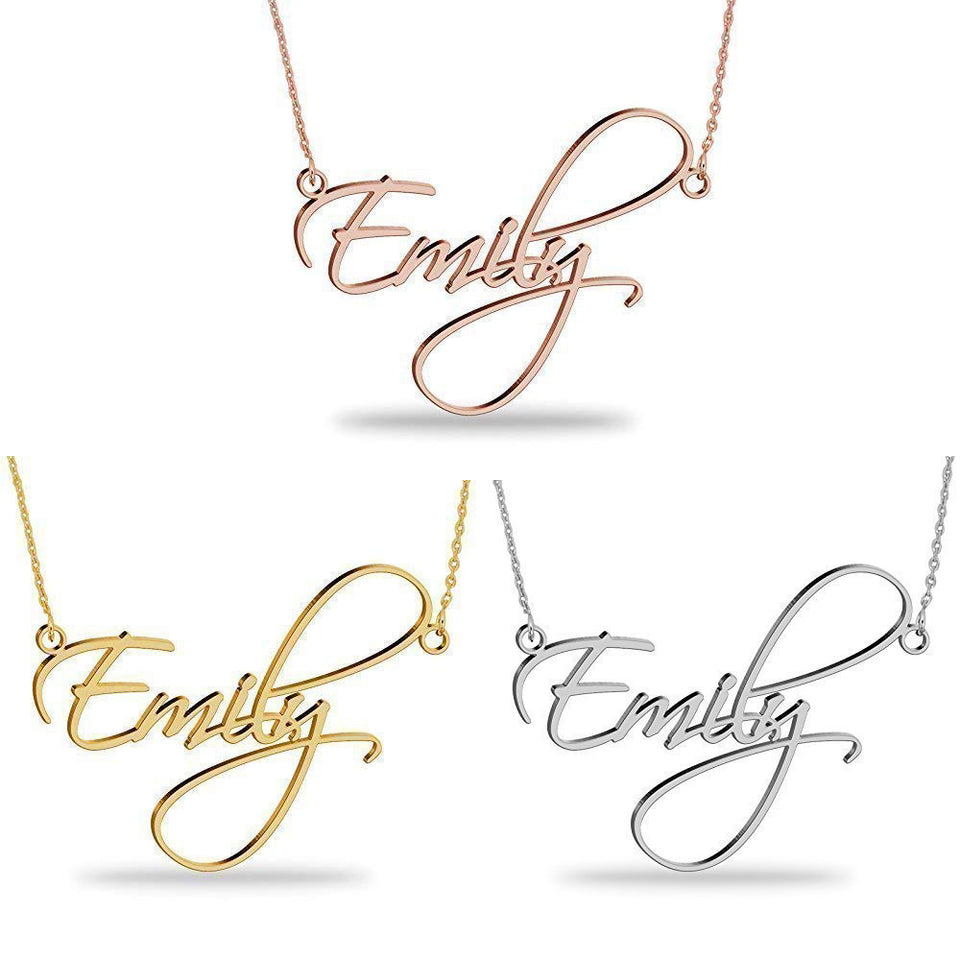 18K Gold Plated Name Necklace Personalized Sterling Silver Necklace Pendent Gifts Custom with Any NameAlskar Creations