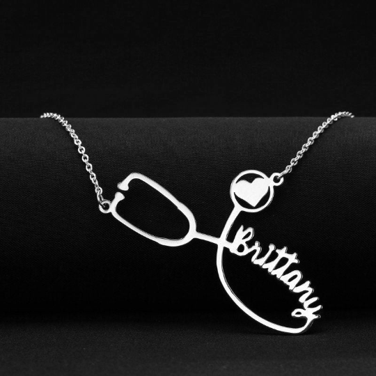 Graduation Gifts | Personalized Heart Stethoscope Necklace | Medical Jewelry Doctor Nurse Best Friend Custom Heart Necklace