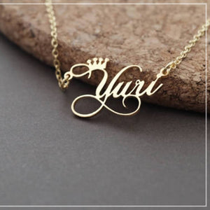Crown Pattern Custom Name Necklace Special Gifts for Mom Giftfriends and Ladies- Sterling Silver Necklace - 100% Personalized Name NecklaceNecklaceAlskar Creations
