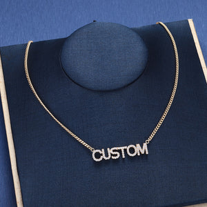 Full Zircon Name Necklace, Bling White Crystal Necklace, Box Chain, Personalized 925 Sterling Silver Name Necklace, Custom PendantNecklaceAlskar Creations