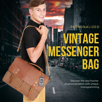 Vintage Leather & Canvas Men's Satchel Shoulder Messenger Bag