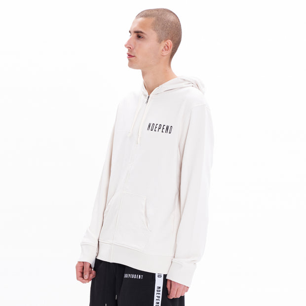 Felpa cappuccio zip off white - Independent_wear