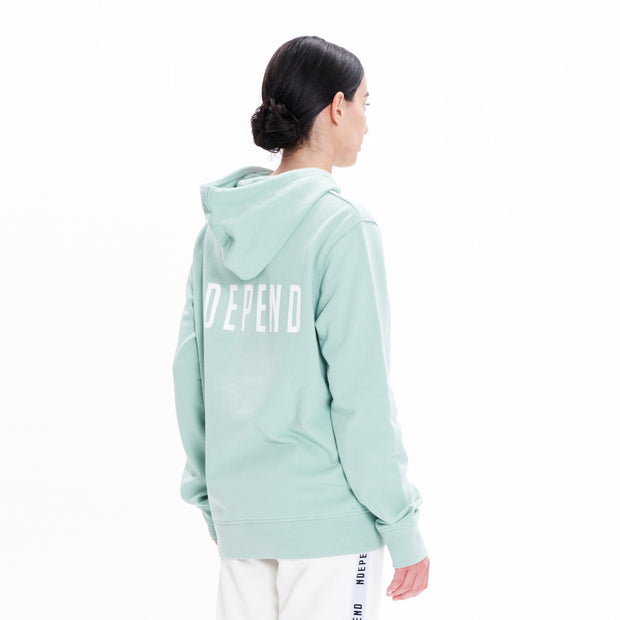 Felpa cappuccio zip soft green - Independent_wear