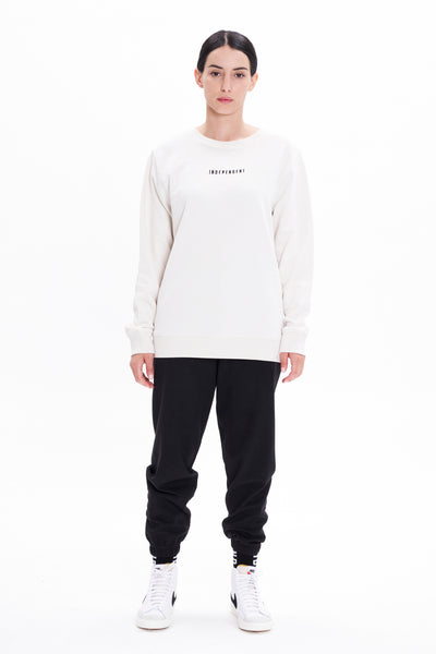Felpa girocollo off white ricamo - Independent_wear