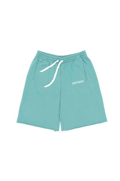 Pantalone tuta corto soft green ricamo - Independent_wear