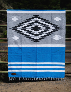 Three Palms Diamond Blanket - Blue/Grey - Mantacompany.com