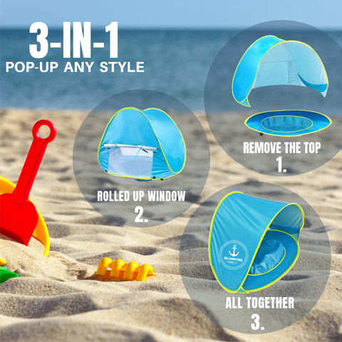 Pop-Up Baby Beach Tent UV Protection with Pool