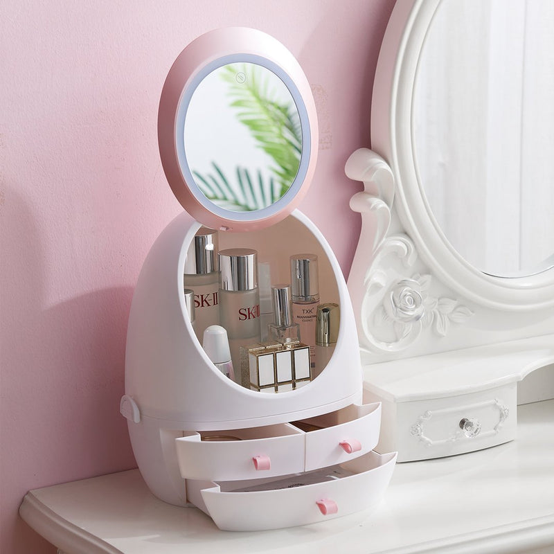 Makeup & Cosmetic Storage Box Organizer Case, LED Ring Light & Mirror - easeable.com