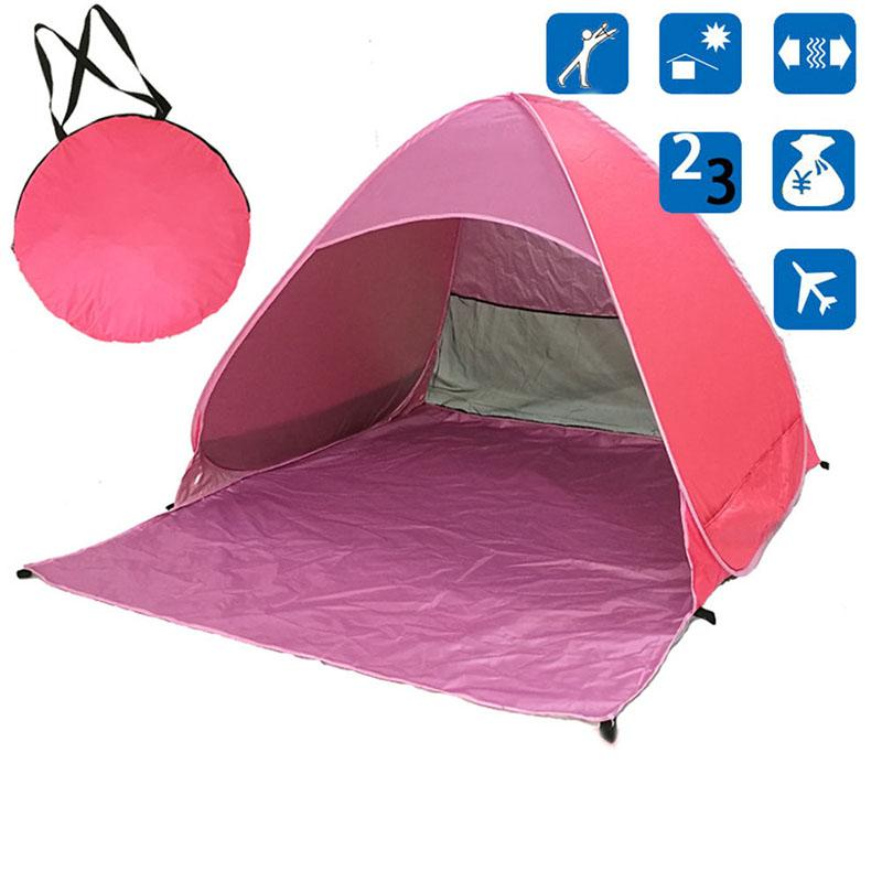 Pink Pop-Up Beach Tent for Family with UV-Protection Shade Automatic Open