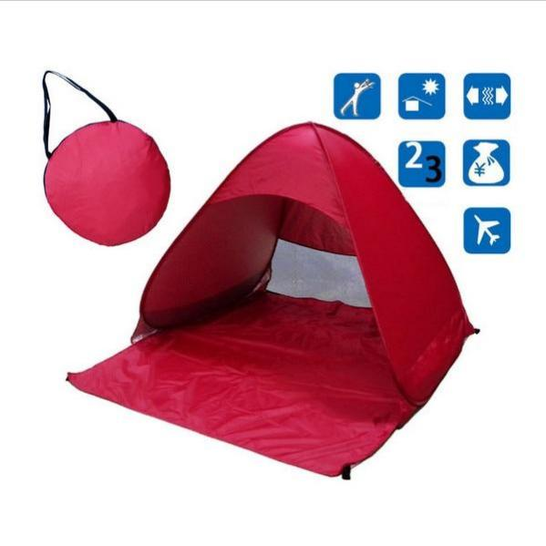 Red Pop-Up Beach Tent for Family with UV-Protection Shade Automatic Open