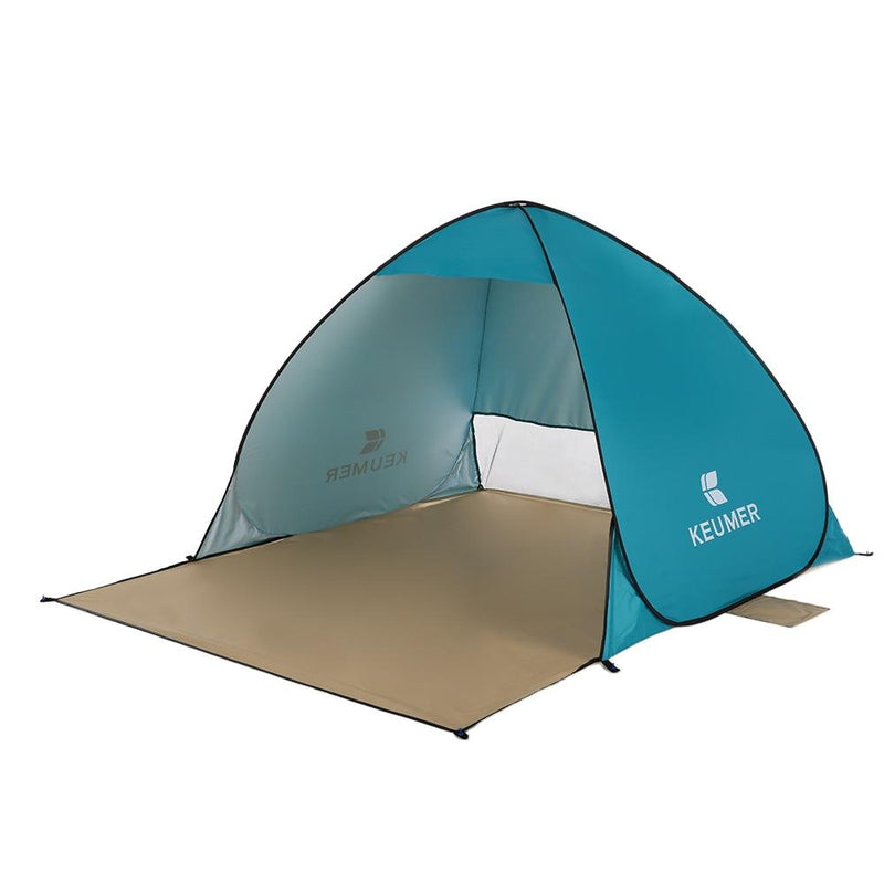 Pop-Up Blue Beach Tent for Family with UV-Protection Shade Automatic Open