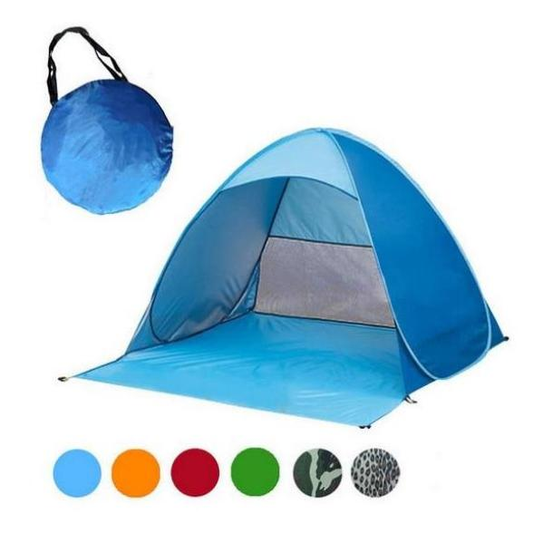 Blue Pop-Up Beach Tent for Family with UV-Protection Shade Automatic Open