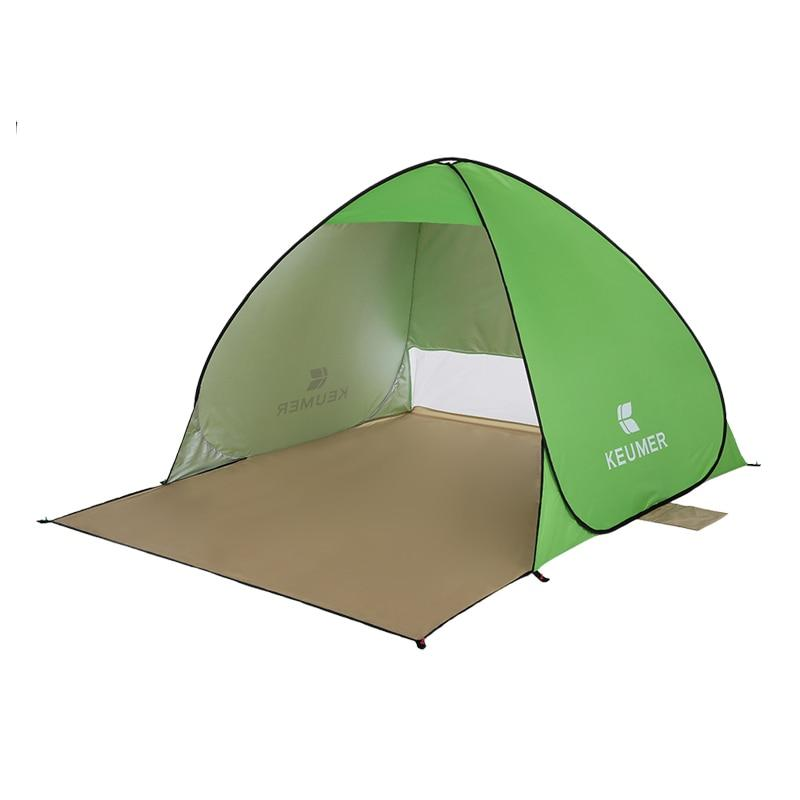Pop-Up Green Beach Tent for Family with UV-Protection Shade Automatic Open