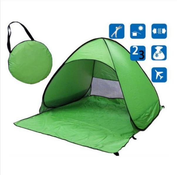 Green Pop-Up Beach Tent for Family with UV-Protection Shade Automatic Open