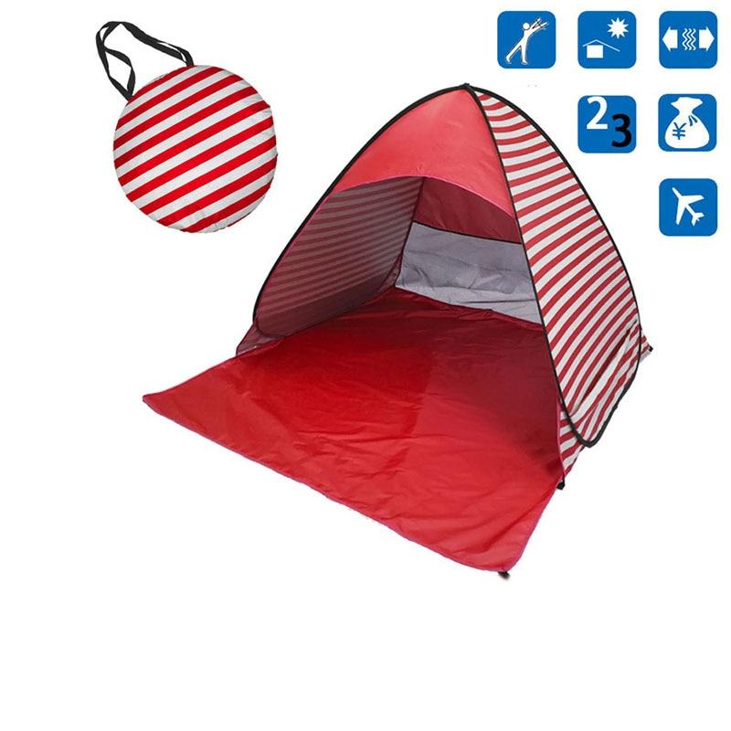 Red Stripe Pop-Up Beach Tent for Family with UV-Protection Shade Automatic Open