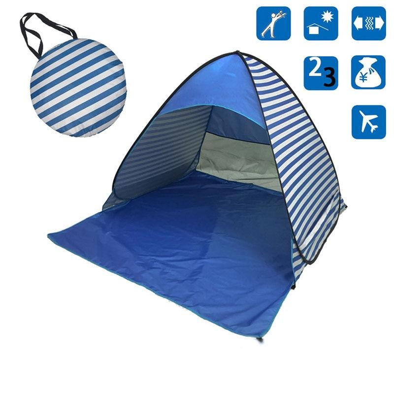 Pop-Up Blue Tent Beach Tent for Family with UV-Protection Shade Automatic Open