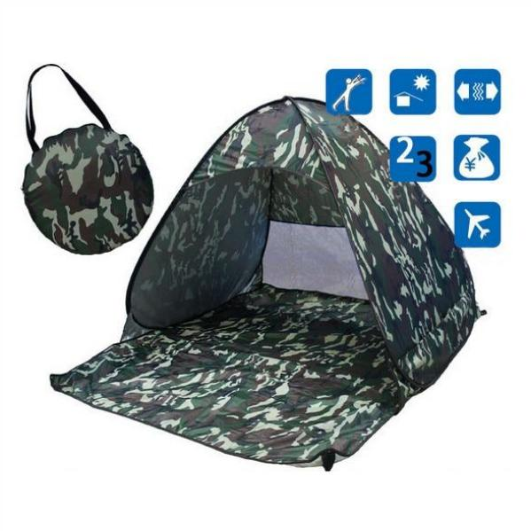 Army Green Pop-Up Beach Tent for Family with UV-Protection Shade Automatic Open