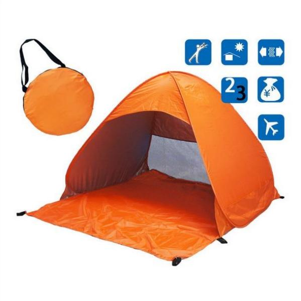 Orange Pop-Up Beach Tent for Family with UV-Protection Shade Automatic Open