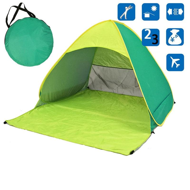 Light Green Pop-Up Beach Tent for Family with UV-Protection Shade Automatic Open