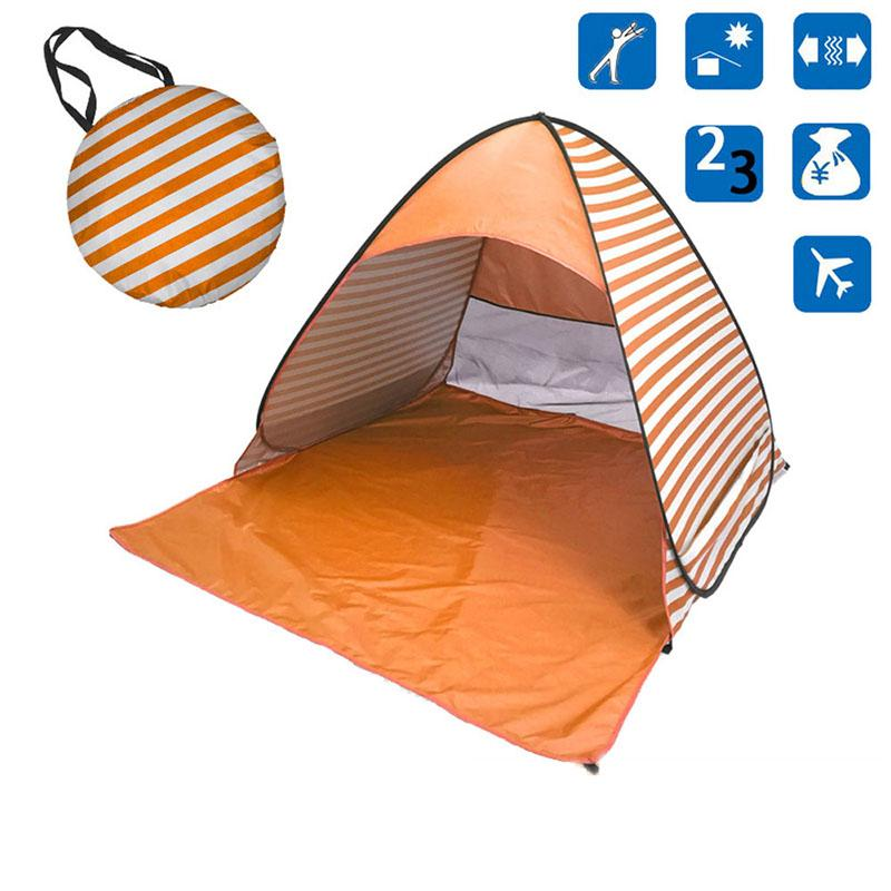 Pop-UpYellow Stripe Beach Tent for Family with UV-Protection Shade Automatic Open