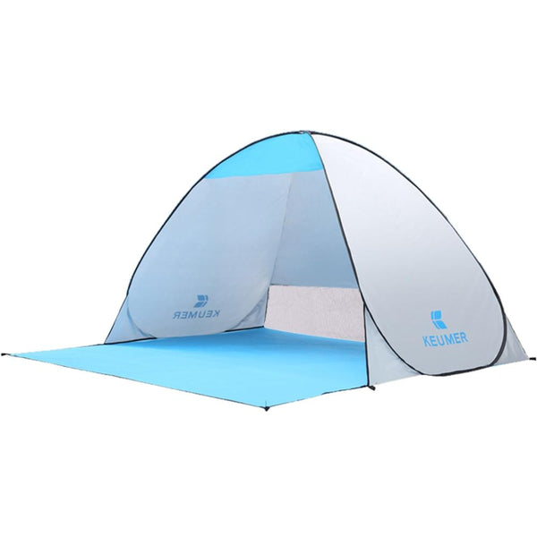 Pop-Up Silver Beach Tent for Family with UV-Protection Shade Automatic Open