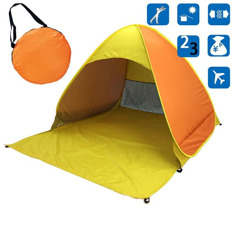 Yellow Pop-Up Beach Tent for Family with UV-Protection Shade Automatic Open