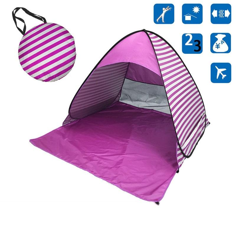 Purple Stripe Pop-Up Beach Tent for Family with UV-Protection Shade Automatic Open
