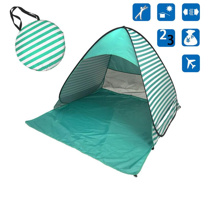Pop-Up Green Stripe Beach Tent for Family with UV-Protection Shade Automatic Open