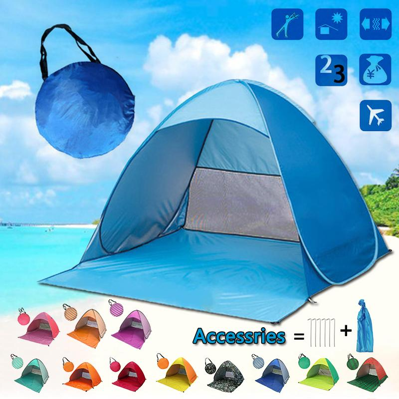 Pop-Up Beach Tent for Family with UV-Protection Shade Automatic Open