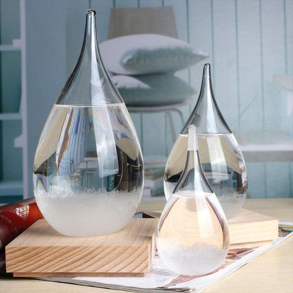 Storm Glass Weather Forecaster with Wood Base - easeable.com