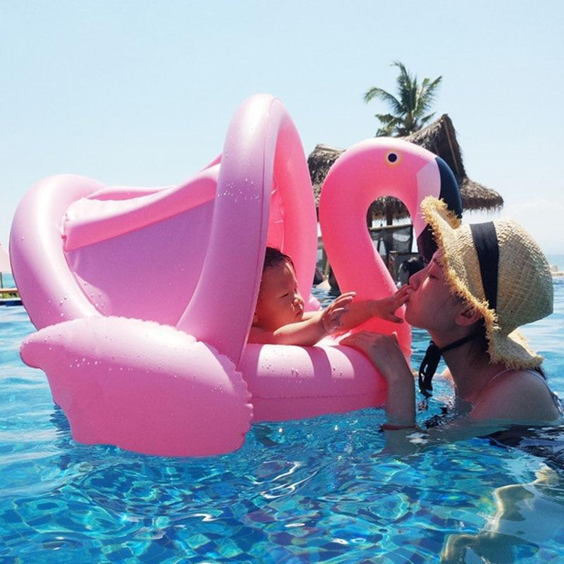 Inflatable Baby Flamingo Pool Float with Shade for Infants